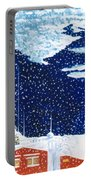 snow falling on Istanbul Portable Battery Charger