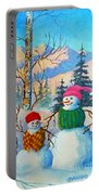 Snow Mom And Son Portable Battery Charger