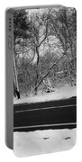 Snow On Fallen Tree Portable Battery Charger