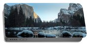 Snow On Large Rocks With El Capitan In The Background Portable Battery Charger
