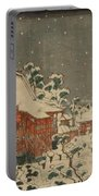 Snow Scene At Sens Ji Temple At Kinry Zan In The Eastern Capital Portable Battery Charger