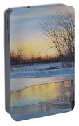 Snow Scene At Sunset Portable Battery Charger