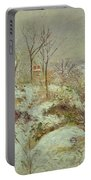 Snow Scene Portable Battery Charger by Camille Pissarro