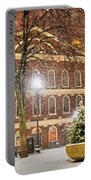 Snow Storm In Faneuil Hall Quincy Market Boston Ma Portable Battery Charger