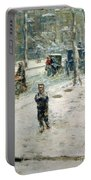 Snow Storm On Fifth Avenue Portable Battery Charger by Childe Hassam