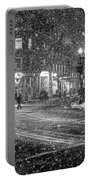 Snowfall In Harvard Square Cambridge Ma 2 Black And White Portable Battery Charger