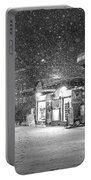 Snowfall In Harvard Square Cambridge Ma Kiosk Black And White Portable Battery Charger
