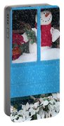 Snowman And Poinsettias - Frosty Christmas Portable Battery Charger