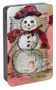 Snowman With Red Hat And Mistletoe Portable Battery Charger