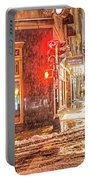 Snowstorm On Tremont Street Boston Ma Park Street Church Portable Battery Charger