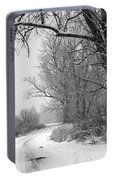 Snowy Branch Over Country Road - Black And White Portable Battery Charger