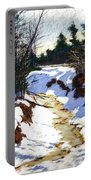 Snowy Ditch Portable Battery Charger by Mary McInnis