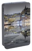 Snowy, Dreamy Reflection In Stockholm Portable Battery Charger