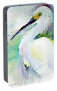 Snowy Egret On Lido Beach Portable Battery Charger