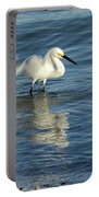 Snowy Egret On The Hunt II Portable Battery Charger