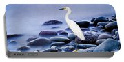 Snowy Egret On The Rocks Portable Battery Charger