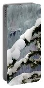 Snowy Fir Trees Portable Battery Charger