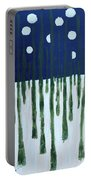 Snowy Forest At Midnight Portable Battery Charger