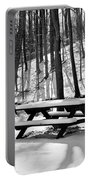 Snowy Picnic Table In Black And White Portable Battery Charger