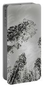 Snowy Sequoias At Calaveras Big Tree State Park Black And White 7 Portable Battery Charger