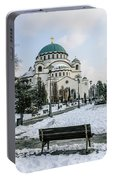 Snowy St. Sava Temple In Belgrade Portable Battery Charger