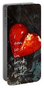 So In Love With You - Romantic Red Heart Painting Portable Battery Charger