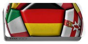 Soccer Ball With Flag Of German In The Center Portable Battery Charger