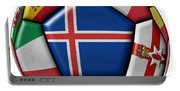Soccer Ball With Flag Of Iceland In The Center Portable Battery Charger