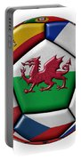 Soccer Ball With Flag Of Wales In The Center Portable Battery Charger