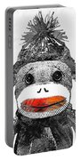 Sock Monkey Art In Black White And Red - By Sharon Cummings Portable Battery Charger