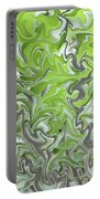 Soft Green And Gray Abstract Portable Battery Charger