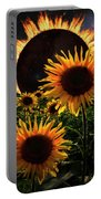 Solar Corona Over The Sunflowers Portable Battery Charger