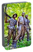 Soldiers Statue At The Vietnam Wall Portable Battery Charger