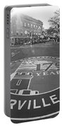 Somerville Ma Davis Square 175 Years Black And White Portable Battery Charger