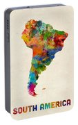 South America Watercolor Map Portable Battery Charger