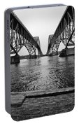 South Grand Island Bridge In Black And White Portable Battery Charger