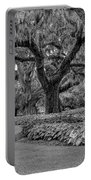 Southern Oaks In Black And White Portable Battery Charger