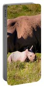 Southern White Rhino With A Little One Portable Battery Charger