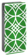 Southwestern Inspired With Border In Dublin Green Portable Battery Charger