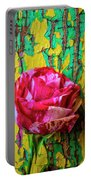 Soutime Rose Against Cracked Wall Portable Battery Charger