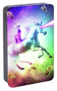 Space Cat Riding Unicorn - Laser, Tacos And Rainbow Portable Battery Charger