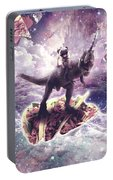 Space Pug Riding Dinosaur Unicorn - Pizza And Taco Portable Battery Charger