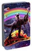 Space Pug Riding Dinosaur Unicorn - Taco And Burrito Portable Battery Charger