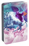 Space Sloth On Unicorn - Sloth Pizza Portable Battery Charger