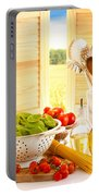 Spaghetti And Tomatoes In Country Kitchen Portable Battery Charger