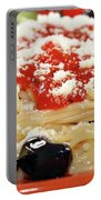 Spaghetti With Tomatoes And Olives Food Background Portable Battery Charger