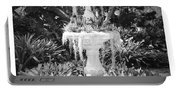 Spanish Moss Fountain With Bromeliads - Black And White Portable Battery Charger