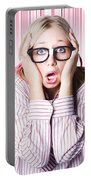 Speechless Nerd Covering Ears In Silent Shock Portable Battery Charger
