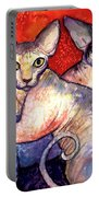 Sphynx Cats Sphinx Family Painting  Portable Battery Charger