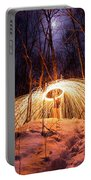 Spinning Steel Wool In Snow Portable Battery Charger